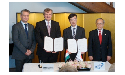 From left: Mr. Szabolcs TAKACS Director General, Department of Asia-Pacific, Ministry of Foreign Affairs of Hungary Mr. Laszlo DVORSZKI, Director of International Affairs, BME Dr. Hiroshi KUMAGAI, Vice President, NICT Mr. Tetsuo ITO, Ambassador of Japan to Hungary