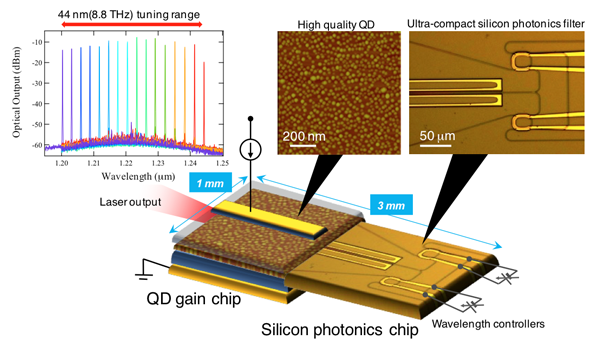 A novel heterogeneous wavelength tunable laser diode consisting of QD technology and silicon photonics.