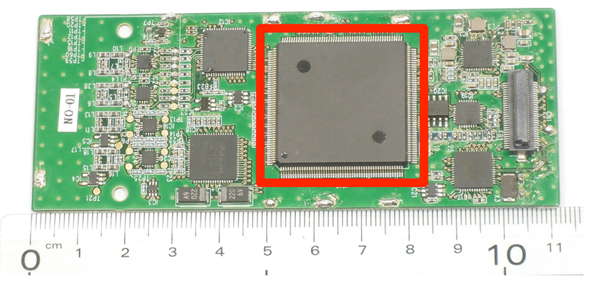 Figure 1 Developed baseband IC and its mounting board for TV white-space WLAN system.